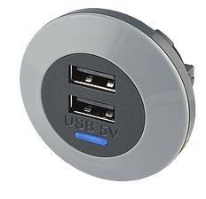 Alfatronix USB lader, dobbel utgang - front fitting